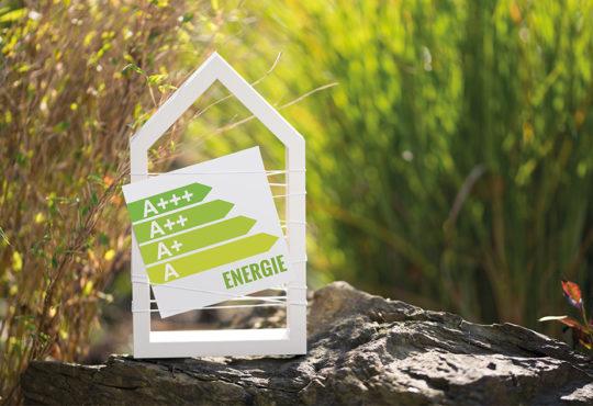 Weißes Haus im Garten mit Schild Energielabel